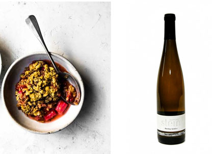 YORKSHIRE FOOD | RHUBARB CRUMBLE | LIGHTFOOT WINES | RIESLING SPATLESE