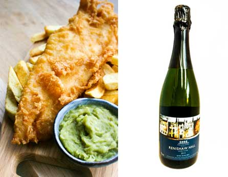 YORKSHIRE FOOD | FISH AND CHIPS | RENISHAW HALL SPARKLING WINE | LIGHTFOOT WINES