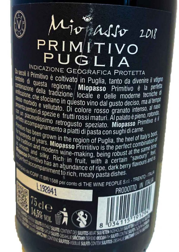 miopasso primitivo | wine from puglia | lightfoot wines
